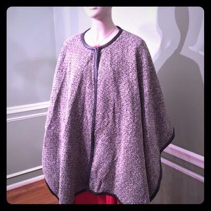LRL- Leather trimmed wool blend shawl